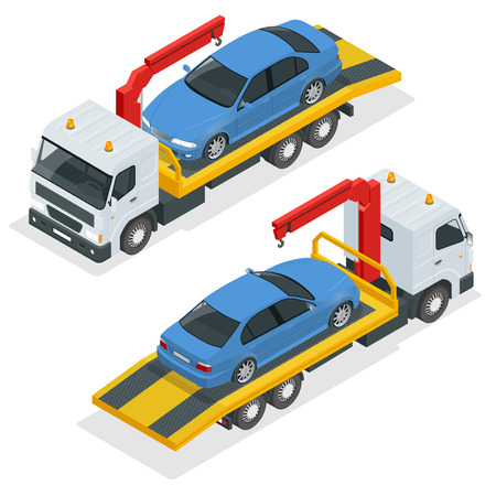 the wrecker: Tow truck isometric vector. Car towing truck 3d flat illustration. Tow truck for transportation faults and emergency cars isometric illustration. City transport Illustration
