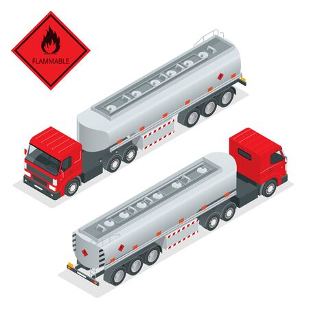 tanker truck: Fuel gas tanker truck isometric illustration. Truck with fuel 3d vector. Automotive fuel tanker shipping fuel. Oil Truck isometric vector.
