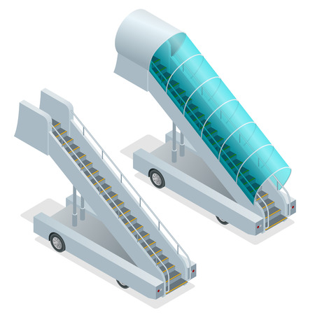 movable: Two ramps on the airfield. Movable ramp isolated illustration. Movable ramp Vector. Movable ramp Icon EPS. Boarding white ramp. Movable ramp 3d isometric picture. Ladder ramp is waiting for airplane
