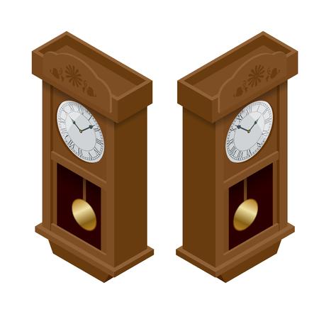 antique clock: Pendulum clock. Elegant roman numeral clock. Elegant antique clock. Flat 3d Vector illustration