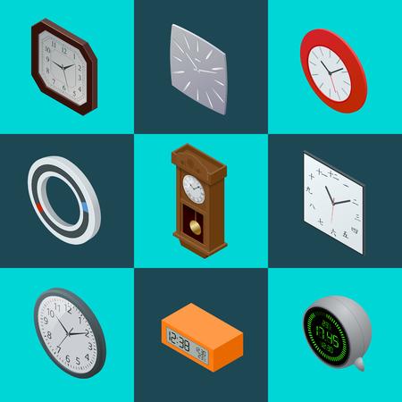 reloj de pendulo: Conjunto de relojes elegantes. reloj de péndulo, reloj moderno, reloj digital. 3d reloj plana ilustración vectorial