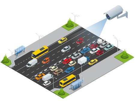 セキュリティ カメラは、トラフィックの動きを検出します。ラッシュアワーの交通渋滞のアイソメ図の CCTV セキュリティ カメラ。トラフィックの 3