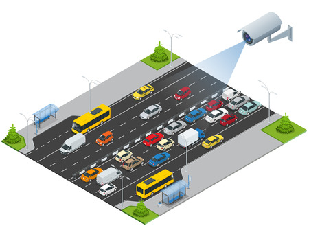 video surveillance: Security camera detects the movement of traffic. CCTV security camera on isometric illustration of traffic jam with rush hour. Traffic 3d isometric vector illustration Illustration