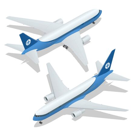 undercarriage: Large passenger Airplane 3d isometric illustration. Airplane freight. Flat 3d isometric high quality transport - passenger plane. Vehicles designed to carry large numbers of passengers Airplane flight Illustration