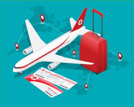 旅遊: 旅行等距組成。旅行和旅遊的背景。平三維矢量插圖。旅行橫幅設計。