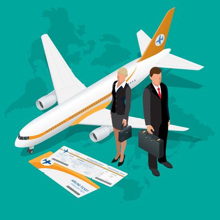 Los viajes de negocios composición isométrica. Los viajes y los antecedentes del turismo. Ilustración del vector 3d plana. Viajar diseño de banners.