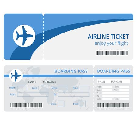 飛行機チケットのデザイン。飛行機チケットのベクトル。空の飛行機のチケットを分離しました。飛行機チケットのベクター イラストです。航空会