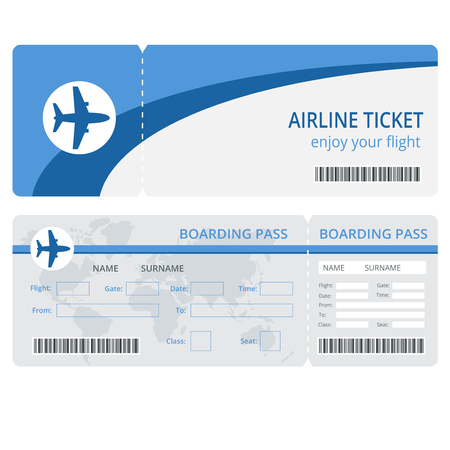 Plane ticket design. Plane ticket vector. Blank plane tickets isolated. Plane ticket vector illustration. Airline boarding pass ticket for traveling by plane Vettoriali