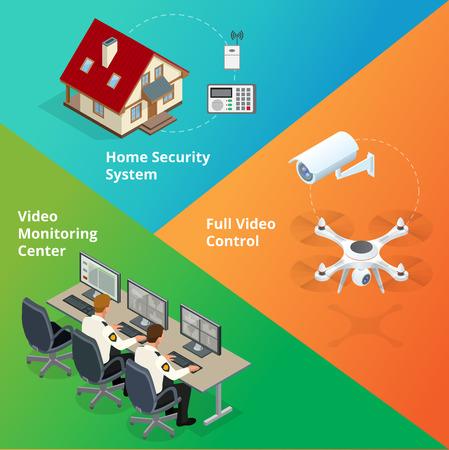 警報システム。セキュリティ システム。セキュリティ カメラ。セキュリティ コントロール ルーム。警備員の監視します。リモート制御、ホーム ア  イラスト・ベクター素材