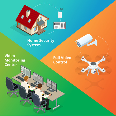 control system: Alarm system. Security system. Security camera. Security control room. Security guard monitoring. Remote controlled home alarm system. Illustration