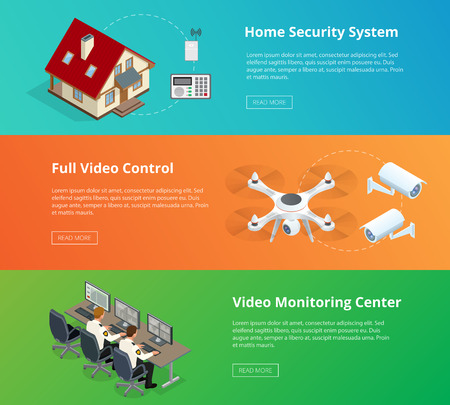 ions: Alarm system. Security system. Security camera. Security control room. Security guard monitoring. Remote controlled home alarm system. Illustration