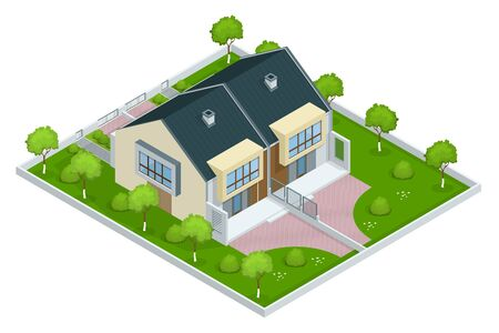 terraced: Modern townhouse flat 3d isometric vector illustration. A row of new townhous. Exterior townhouse. Villa view with garden. Townhouse illustration. Townhouse icon. Villa icon Illustration