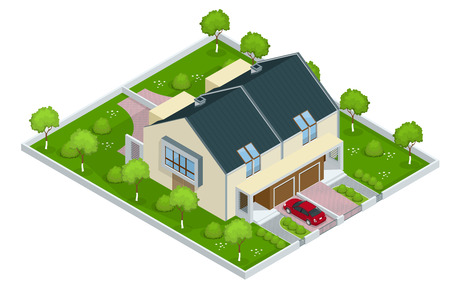 Modern townhouse flat 3d isometric vector illustration. A row of new townhous. Exterior townhouse. Villa view with garden. Townhouse illustration. Townhouse icon. Villa icon Stock Illustratie