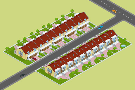Modern townhouse flat 3d isometric vector illustration. A row of new townhous. Exterior townhouse. Villa view with garden. Townhouse illustration. Townhouse icon. Villa icon Vetores