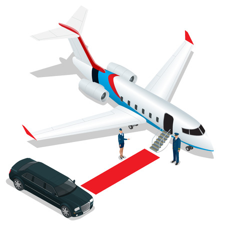 hostess: Businessman with luggage walking towards private jet at terminal. Bussines concept stewardess, pilot, limousine, corporate jet. Vector 3d flat isometric illustration. Business airlines Illustration