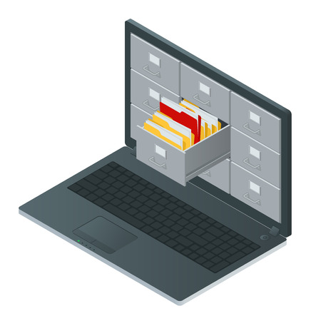 searching: File cabinets inside the screen of laptop computer. Laptop and file cabinet. Data storage 3d isometric illustration. File cabinets concept. File cabinets vector. Laptop computer isometric