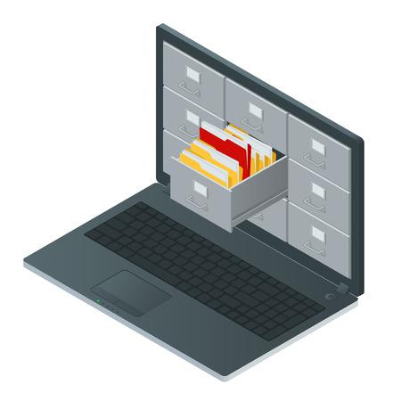 schedari dentro lo schermo del computer portatile. Laptop e schedario. L'archiviazione dei dati 3D isometrico illustrazione. schedari concetto. armadi file vettoriale. del computer portatile isometrica