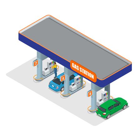 주유소 3D 아이소 메트릭. 주유소 개념입니다. 주유소 평면 벡터 일러스트 레이 션입니다. 연료 펌프, 자동차, 상점, 주유소, 가솔린.