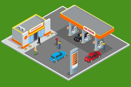 Gasolinera en 3D isométrico. concepto de estación de servicio. ilustración vectorial plana gasolinera. bomba de combustible, el coche, tienda, estación de petróleo, gasolina.