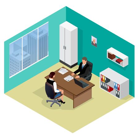 interviewer: Job interview. Job applicants. Candidate and recruitment, hire and interviewer, decision and examination. Flat 3d isometric illustration. Meeting isometric Illustration