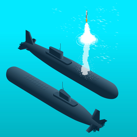 powered: Nuclear submarine traveling underwater.Nuclear powered submarines. Flat 3d isometric vector illustration for infographic Illustration