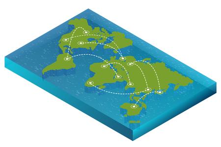 Karte Welt isometrische Konzept. 3d flache Abbildung der Weltkarte. Vektor-Weltkarte Verbindung Politische Weltkarte isometrischen 3D-Weltkarte Infografik. Vektorgrafik
