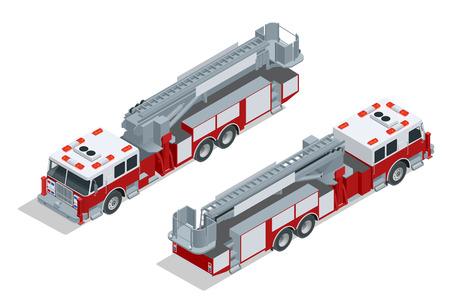 aislado camión de bomberos. La extinción de incendios y asistencia a las víctimas. Piso en 3D isométrico de alta calidad icono de transporte de la ciudad