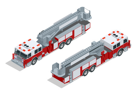 Fire truck isolated. Fire suppression and victim assistance. Flat 3d isometric high quality city transport icon