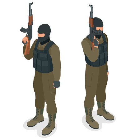 police unit: Spec ops police officers SWAT in black uniform. Soldier, officer, sniper, special operation unit, SWAT flat 3d isometric illustration. Soldier with anti-tank rocket launcher - RPG Illustration