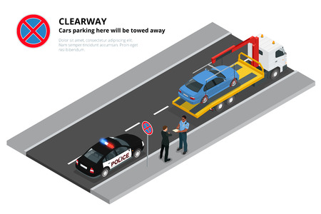 car crime: Isometric police fines car design flat isolated. 3D car on Tow truck, police officer traffic, policeman person fines, transportation driver fines, fines transport