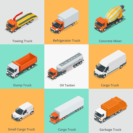 tanker type: Cargo Truck set icons. Truck icon. Truck isometric. 3d Truck.
