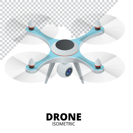 spy camera: Drone isometric. Drone quadrocopter 3d isometric illustration. Drone with action camera icon. Stock Photo