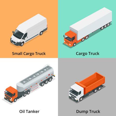 camion de basura: Cami�n de carga iconos conjunto. icono de cami�n. isom�trica cami�n. Cami�n 3D.