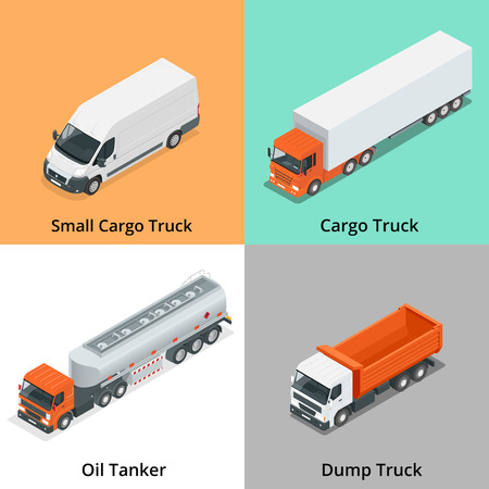 truck trailer: Cargo Truck set icons. Truck icon. Truck isometric. 3d Truck.