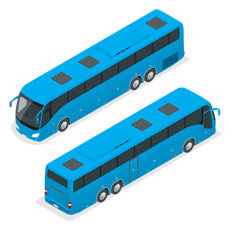3D isometric bus. Tourist bus. Global transportation. Vector isometric bus Çizim