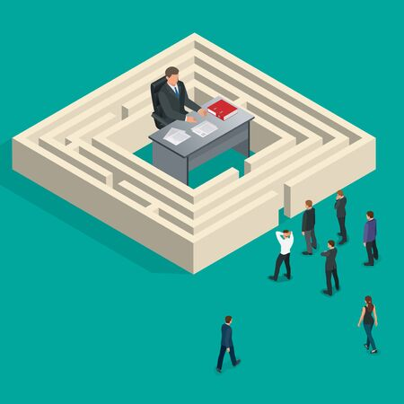 bureaucrat: Bureaucrat in the maze. People stand in a queue. Bureaucracy concept. Flat 3d vector isometric illustration