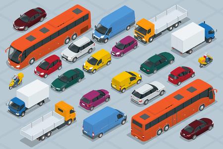 汽車圖標。平板3D等距高品質的城市交通汽車圖標設置。汽車,廂式貨車,貨運卡車,越野,公交車,摩托車,摩托車,騎手。設置城市公共和貨物運輸