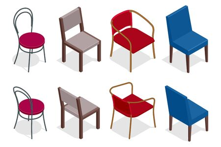french fancy: Vector cafe chair collection. Flat 3d vector isometric cafe chairs illustration