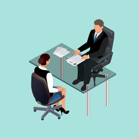 interviewer: Business people in suit sitting at the table. Meeting. Job interview. Job applicants. Concept of hiring worker. Candidate or recruitment, hire and interviewer. Flat 3d  isometric illustration