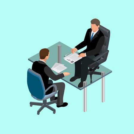 puesto de trabajo: La gente de negocios en traje sentado a la mesa. Reunión. Entrevista de trabajo. Candidatos para trabajo. Concepto de contratación de los trabajadores. Candidato o el reclutamiento, contratar y entrevistador. Piso ilustración isométrica 3d Vectores