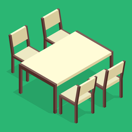 reserves: Wooden Table with chairs for cafes. Modern table and chairs on white background. Flat 3d isometric vector illustration