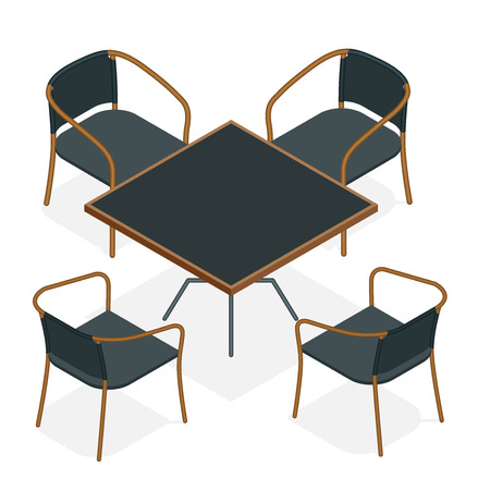 Table with chairs for cafes. Modern table and chairs on white background. Flat 3d isometric vector illustration