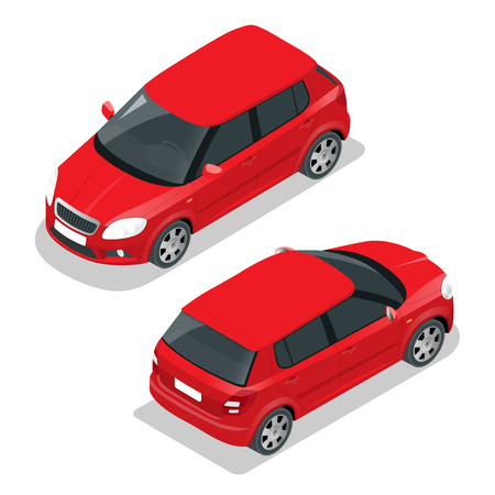 ico: Hatchback car. Flat 3d vector isometric illustration. High quality city transport ico