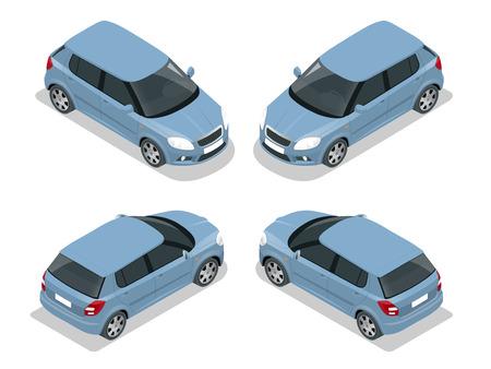 Hatchback auto. Flat 3d isometrische afbeelding. Hoge kwaliteit stadsvervoer icon Vector Illustratie