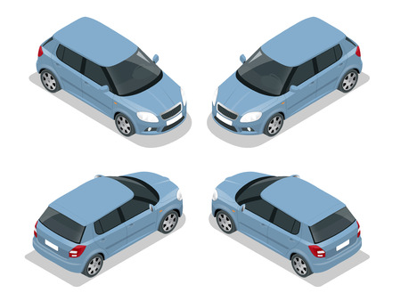 motor transport: Hatchback car. Flat 3d vector isometric illustration. High quality city transport icon