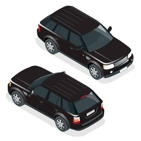 offroad car: Off-road car. Vector illustration black travel car. Illustration