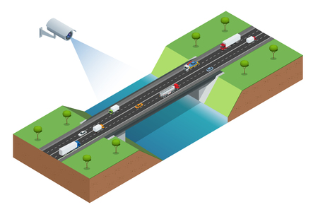 detects: Security camera detects the movement of traffic. CCTV security camera of traffic jam with rush hour. Traffic 3d isometric vector illustration. Traffic monitoring CCTV