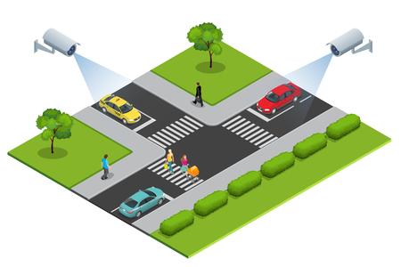 Caméra de sécurité détecte le mouvement du trafic. caméra de sécurité CCTV illustration isométrique d'embouteillage avec l'heure de pointe. Traffic 3d isométrique illustration vectorielle. surveillance du trafic CCTV