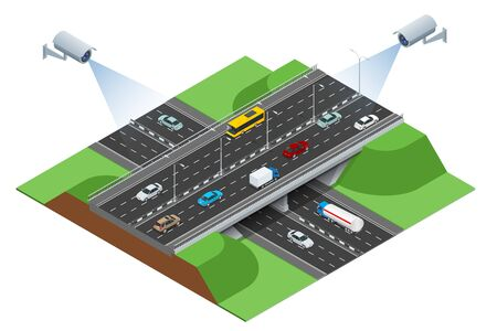 consept: Road infographics with highways with city transport.  Flat 3d isometric consept of the city with highways. Flowing traffic.