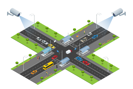 detects: Security camera detects the movement of traffic. CCTV security camera on isometric illustration of traffic jam with rush hour. Traffic 3d isometric vector illustration. Traffic monitoring CCTV